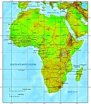 africa terrain map with country name