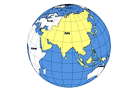 asia on the globeoutline map