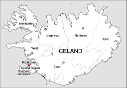 Editable royalty-free map of Iceland in vector-graphic online store.