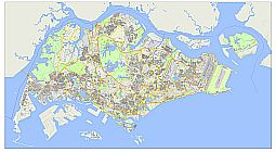 Editable royalty-free map of Singapore in vector-graphic online store.