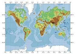 physical world contour map shows elevation and ocean depth