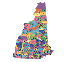 Colored Vector map of New Hamphire zip codes and