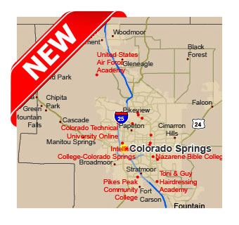 Colleges and universitas in Colorado.Vector map. lossless scalable ...