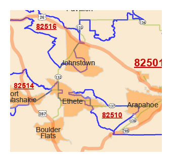Details of Wyoming state zip code map
