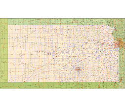 Kansas zip code vector map 2015. Postal codes map of KS. lossless ...