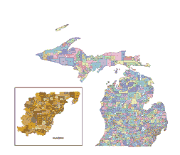 Michigan postcodes vector map. lossless scalable AI,PDF map for ...