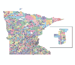 minnesota zip codes map Preview Of Minnesota State Zip Code Vector Map Lossless Scalable Ai Pdf Map For Printing Presentation minnesota zip codes map