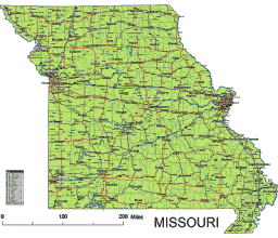 Editable Royaltyfree Map Of Missouri MO In Vectorgraphic Online - Road map of missouri