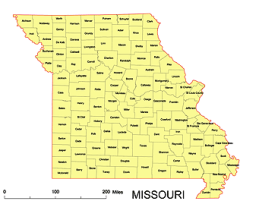 Editable Royaltyfree Map Of Missouri MO In Vectorgraphic Online - Missouri county map