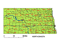 north dakota state vector road map