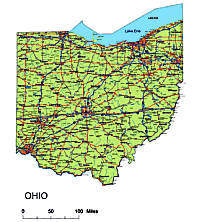 Editable Royaltyfree Map Of Ohio OH In Vectorgraphic Online Store - Us highway map pdf
