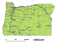 Oregon State Vector Road Map Lossless Scalable AIPDF Map For - Oregon road maps
