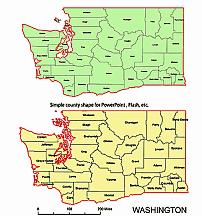 Editable Royalty Free Map Of Washington Wa In Vector Graphic