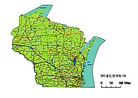 Wisconsin printable vector map.