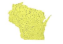 Wisconsin simple zip code vector map