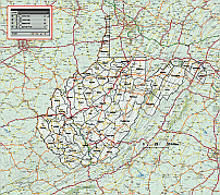 West Virginia county map with raster background.