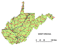 West Virginia route network map.