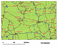 Urban area and and highways map of Wyoming.