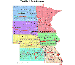 Counties Of WestNorth Central Division States County Map - North central us map