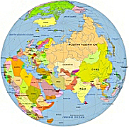 asia centered globe with country name