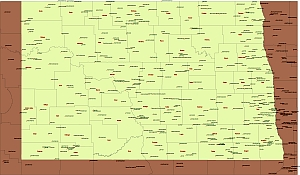 Location of airports in North Dakota.Vector map