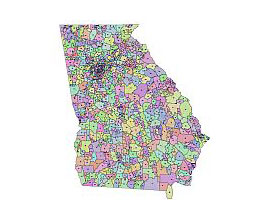 Georgia 2015 zip code map