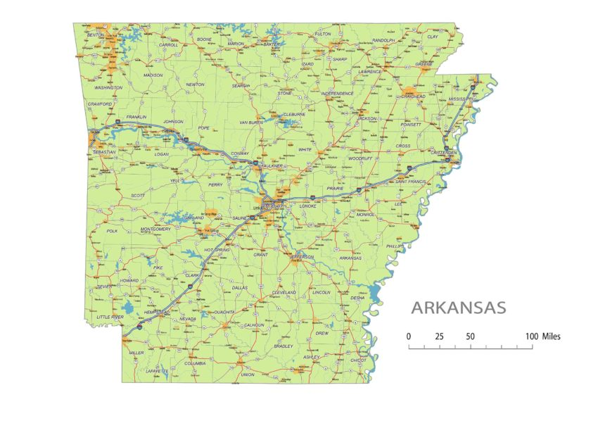 Arkansas roads and cities, water bodies, state/county/country boundaries, road lines, map symbols, map scale.