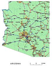 Arizona main routes and cities - vector map