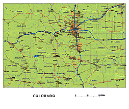 Colorado state road map with Interstates, U.S, highways and state roads. Vector Illustration
