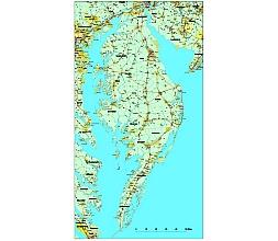 Delmarva road vector map