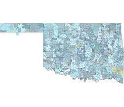 US State Oklahoma  5 digit zip code area vector map. County border.