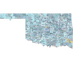 5 digit zip code area shape, county shapes and names, primary city name of Oklahoma state