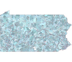 Pennsylvania postal codes. Data based on US census. County outline. Adobe Illustrator file.
