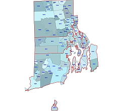 Rhode Island postal codes map. . County outline. Adobe Illustrator file.
