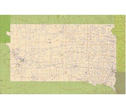 South Dakota zip code and main road map