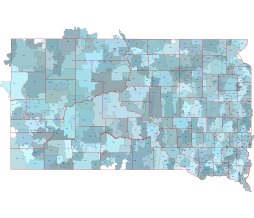 South Dakota vector map. 5 digit postal code and county outlines