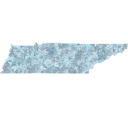 TN postal code vector map county outline and name