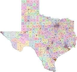 Texas zip code, main routes, main cities