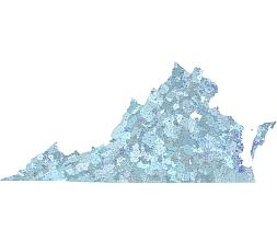 Virginia 5 digit zip code map.
