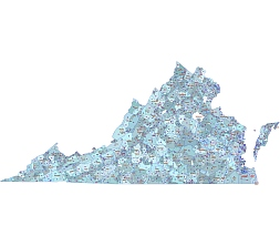 Virginia 5 digit vector map based on US census data.