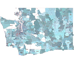 Washington  state 5 digit zip code vector map, city & county name
