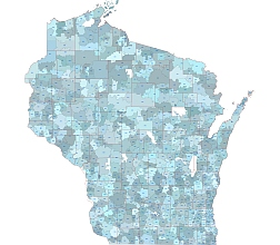 Wisconsin state 5 digit zip code Illustrator artwork,with county layer