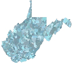 West Virginia state 5 digit zip code Illustrator artwork,with county layer