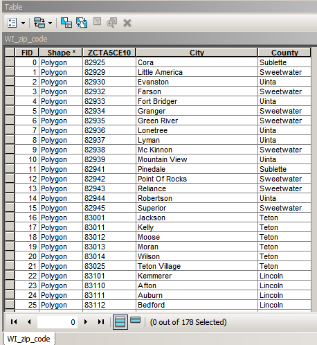 Wyoming shape file of zip codes + county shape file