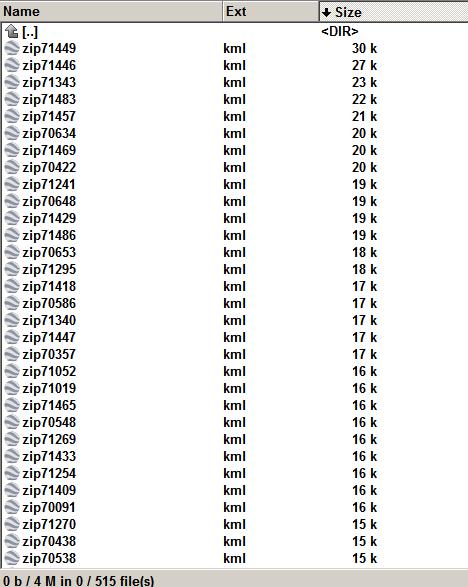 Louisiana 515  zip code shape as kml file.