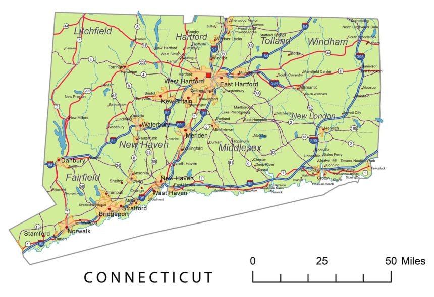 Connecticut roads and cities, water bodies, state/county/country boundaries, road lines, map symbols, map scale.