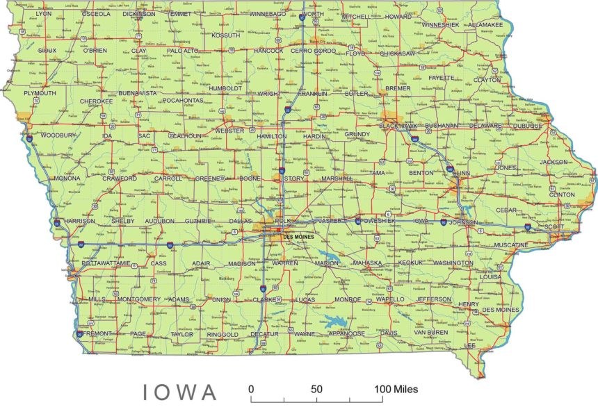 Iowa roads and cities, water bodies, state/county/country boundaries, road lines, map symbols, map scale.