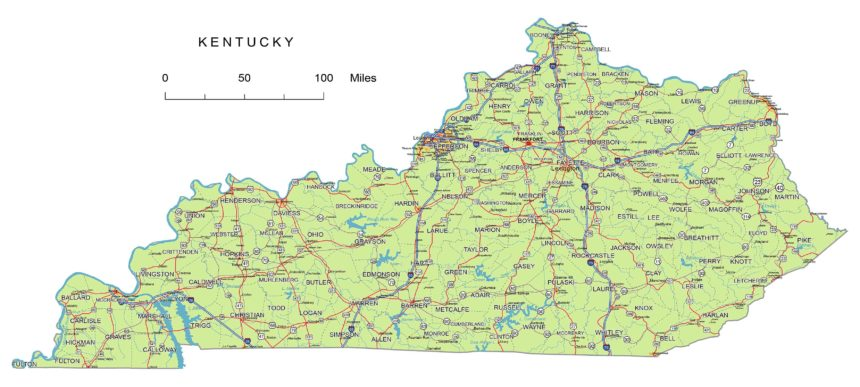 Kentucky roads and cities, water bodies, state/county/country boundaries, road lines, map symbols, map scale.