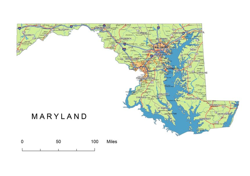 Maryland main roads and cities, water bodies, state/county/country boundaries, road lines, map symbols, map scale.