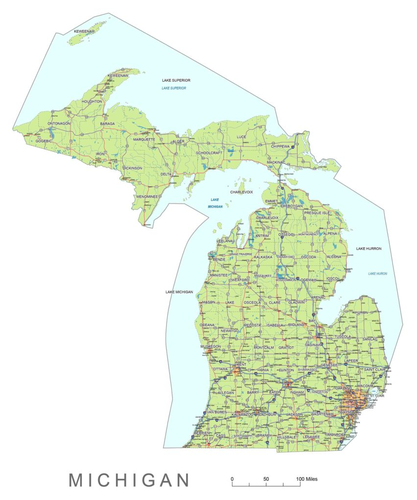 Michigan main roads and cities, water bodies, state/county/country boundaries, road lines, map symbols, map scale.